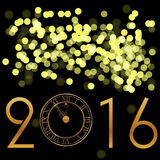 Happy New Year background. With gold clock vector illustration 2016 Royalty Free Stock Images