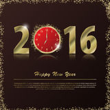 2016 Happy New Year background with gold clock. Vector illustration Royalty Free Stock Photography