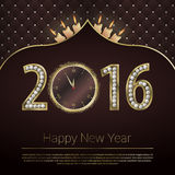 2016 Happy New Year background with gold clock. Vector illustration.  Royalty Free Stock Image