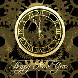 Happy New Year background with gold clock Stock Images