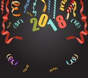 Happy new year 2018 background with gold confetti and black colors lace for text.  Stock Photography