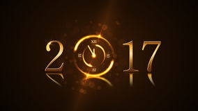 Happy New Year background gold. Happy New Year background with magic gold clock countdown. Golden numbers 2017. Christmas night design light and glitter. Symbol Royalty Free Stock Image
