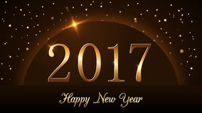 Happy New Year background gold 2017. Happy New Year background with magic gold rain and globe. Golden numbers 2017 on horizon. Christmas planet design light Stock Photography