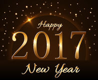 Happy New Year background gold 2017. Happy New Year background with magic gold rain and globe. Golden numbers 2017 on horizon. Christmas planet design light Royalty Free Stock Image