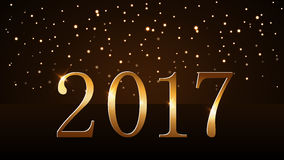 Happy New Year background gold 2017. Happy New Year background with magic gold rain and globe. Golden numbers 2017 on horizon. Christmas planet design light Royalty Free Stock Photography
