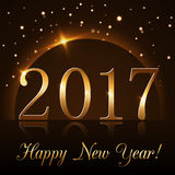 Happy New Year background gold 2017. Happy New Year background with magic gold rain and globe. Golden numbers 2017 on horizon. Christmas planet design light Stock Image