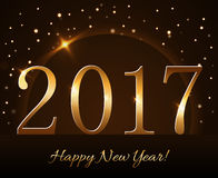 Happy New Year background gold 2017. Happy New Year background with magic gold rain and globe. Golden numbers 2017 on horizon. Christmas planet design light Stock Photo