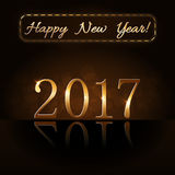 Happy New Year background gold 2017 Stock Photo
