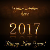 Happy New Year background gold 2017 Royalty Free Stock Images