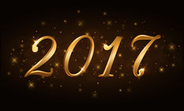 Happy New Year background gold 2017. Happy New Year background. Gold numbers 2017 card. Christmas design with light, vibrant, glow and sparkle, stars, glitter Royalty Free Stock Image
