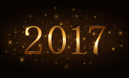 Happy New Year background gold 2017. Happy New Year background. Gold numbers 2017 card. Christmas design with light, vibrant, glow and sparkle, stars, glitter Royalty Free Stock Photo