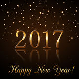 Happy New Year background gold rain. Happy New Year background with magic gold rain. Golden numbers 2017. Christmas design light, vibrant, glow and sparkle Royalty Free Stock Photo