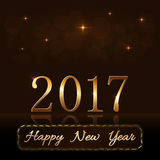 Happy New Year background gold rain. Happy New Year background with magic gold rain. Golden numbers 2017. Christmas design light, vibrant, glow and sparkle Stock Images