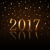 Happy New Year background gold rain. Happy New Year background with magic gold rain. Golden numbers 2017. Christmas design light, vibrant, glow and sparkle Royalty Free Stock Images