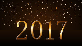 Happy New Year background gold rain. Happy New Year background with magic gold rain. Golden numbers 2017. Christmas design light, vibrant, glow and sparkle Royalty Free Stock Image