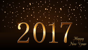 Happy New Year background gold rain. Happy New Year background with magic gold rain. Golden numbers 2017. Christmas design light, vibrant, glow and sparkle Royalty Free Stock Photos