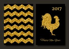 Happy New Year 2017 background with gold shiny rooster silhouette. New Year s greetings card. Vector illustration. Cards, banners.  Royalty Free Stock Photography