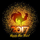 Happy New Year 2017 background with gold shiny rooster silhouette Royalty Free Stock Images