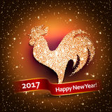 Happy New Year 2017 background with gold shiny rooster silhouette. New Years greetings card. Vector illustration. Chinese calendar Zodiac sign Royalty Free Stock Photo