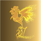 Happy New Year 2017 background with gold shiny rooster silhouette Stock Image