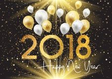 Happy New Year background with gold and silver balloons. And starry confetti Royalty Free Stock Photo