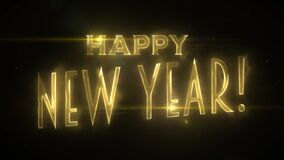 Happy New Year Background Gold Text Animation