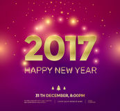 Happy New Year background. 2017 Happy New Year background with gold text and glow effect. Vector illustration stock illustration