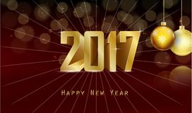 Happy new year for 2017 background with golden balls. Illustration of Happy new year for 2017 background with golden balls Stock Photography