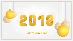 2018 Happy New Year background with golden christmas ball. Vector banner. 2018 Happy New Year background with golden christmas ball. Vector banner Stock Photos