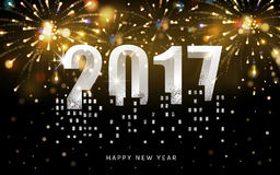 Happy new year 2017. 2017 Happy New Year background with golden firework and tall buildings Stock Image