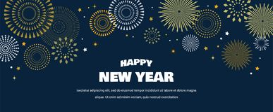Happy New Year Background with golden fireworks. Gold and black card and banner, festive invitation, calendar poster or. Promo banner. vector illustration vector illustration