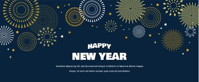 Happy New Year Background with golden fireworks. Gold and black card and banner, festive invitation, calendar poster or. Promo banner. vector illustration stock illustration