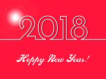 2018 Happy New Year background with golden gift bow and christmas elements. 2018 Happy New Year red background . Merry Christmas elements Flat design Stock Photo
