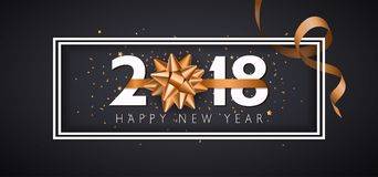 Vector 2018 Happy New Year background with golden gift bow. 2018 Happy New Year background with golden gift bow.Illustration Royalty Free Stock Image