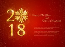 2018 Happy New Year Background. With golden glitter numbers on red background. Vector holiday design for your flyer banner and greeting cards Stock Photo