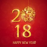2018 Happy New Year Background. With golden glitter numbers on red background. Vector holiday design for your flyer banner and greeting cards Royalty Free Stock Images