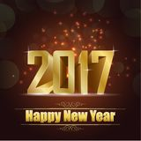 Happy new year for 2017 background with golden lettering. Illustration of Happy new year for 2017 background with golden lettering Royalty Free Stock Photography