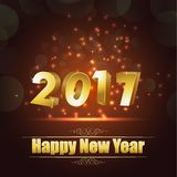 Happy new year for 2017 background with golden lettering. Illustration of Happy new year for 2017 background with golden lettering Royalty Free Stock Images