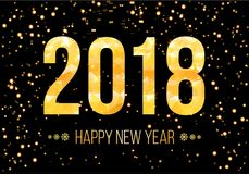 Vector 2018 Happy New Year Background. Golden numbers with confetti on black background. 2018 Happy New Year Background. Golden numbers with confetti on black Stock Images