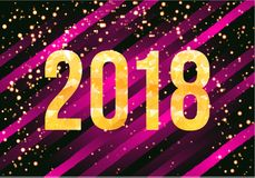 Vector 2018 Happy New Year Background. Golden numbers with confetti on black background. Royalty Free Stock Photos
