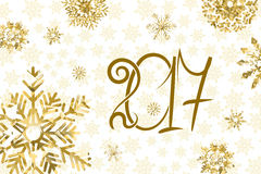 2017 happy New Year background. Golden numbers and snowflakes on white background. Vector illustration Royalty Free Stock Image