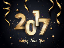 Happy new year 2017. 2017 Happy New Year background with golden ribbons Royalty Free Stock Image