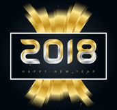 2018 Happy New Year background with Golden ribbons and date. Vec. Tor illustration or calendar cover Royalty Free Stock Image