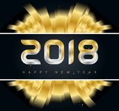 2018 Happy New Year background with Golden ribbons. Vector illus. Tration or calendar cover Stock Photo