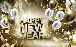 Happy new year 2017. 2017 Happy New Year background with golden and silver flying balloons Royalty Free Stock Photos