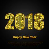 Happy New Year 2018. Vector background. Happy New Year 2018. Background with golden sparkling texture. Gold Numbers 0, 1, 2, 8. Vector Illustration for holiday Stock Image