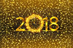 Happy New Year 2017. Vector illustration with gold clock. Happy New Year 2018. Background with golden sparkling texture. Vector illustration with gold clock Stock Photography