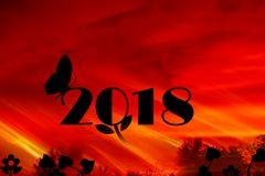 2018 Happy New Year. 2018 New Year background with golden sunrise Stock Image