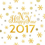 2017 Happy New Year background. 2017 Happy New Year golden background with symbolic snowflakes and circles and greeting inscription Royalty Free Illustration