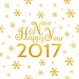 2017 Happy New Year background. 2017 Happy New Year golden background with symbolic snowflakes and greeting inscription Vector Illustration